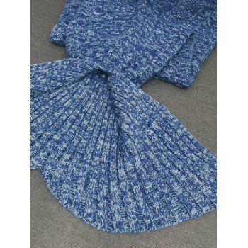 Comfortable Acrylic Knitted Sofa Mermaid Tail Style Blanket - LAKE BLUE