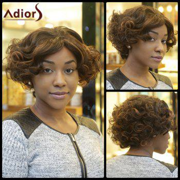 Double Color Short Fluffy Faddish Afro Curly Synthetic Capless Wig