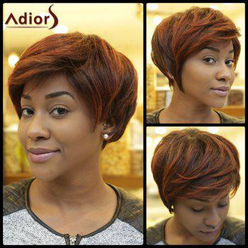 Straight Short Fluffy Inclined Bang Double Color Synthetic Wig