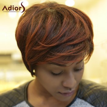 Straight Short Fluffy Inclined Bang Double Color Synthetic Wig - COLORMIX