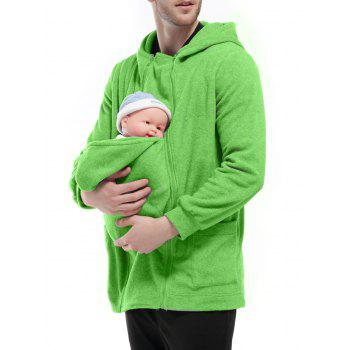 Zipper Up Detachable Pocket Baby Carrier Kangaroo Hoodie - 2XL 2XL