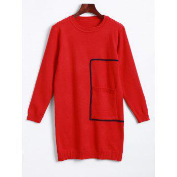 Long Sleeve Crew Neck Mini Sweater Dress - RED ONE SIZE