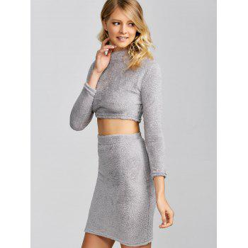 Cropped Sweater and Knitted Bodycon Skirt - GRAY GRAY