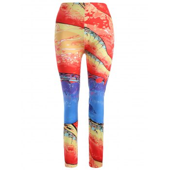 Skinny Sunset Glow Print Leggings - RED L