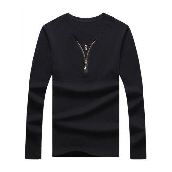 V Neck Long Sleeve Zipper Embellished Tee
