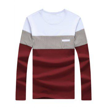 Long Sleeve Striped Color Block Tee - WINE RED 3XL