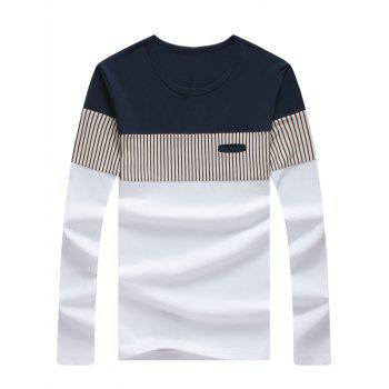 Long Sleeve Striped Color Block Tee - WHITE 5XL