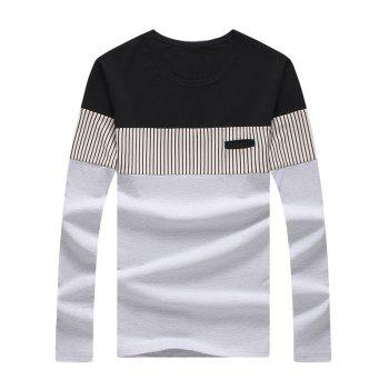 Long Sleeve Striped Color Block Tee - LIGHT GREY L