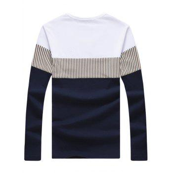 Long Sleeve Striped Color Block Tee - 4XL 4XL