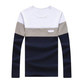 Long Sleeve Striped Color Block Tee - CADETBLUE M