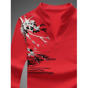 Notched Stand Collar Printed Long Sleeve Tee - 3XL 3XL