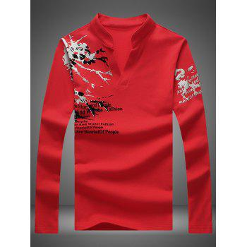 Notched Stand Collar Printed Long Sleeve Tee - RED 2XL
