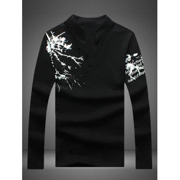 Notched Stand Collar Printed Long Sleeve Tee