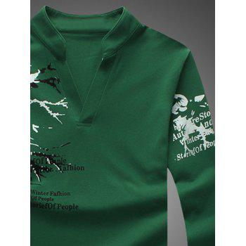 Notched Stand Collar Printed Long Sleeve Tee - 2XL 2XL