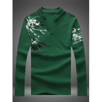 Notched Stand Collar Printed Long Sleeve Tee - BLACKISH GREEN XL