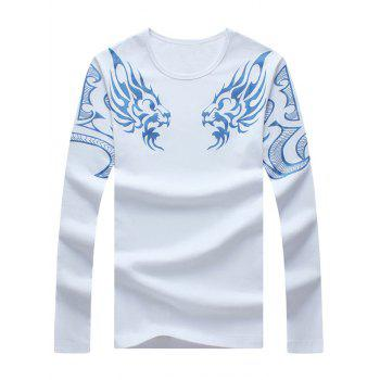 Dragon Printed Round Neck Long Sleeve Tee