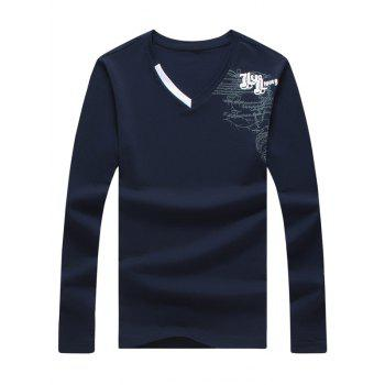 Graphic Printed Long Sleeve V Neck Tee - CADETBLUE M