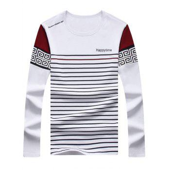 Round Neck Long Sleeve Vintage Stripe Printed Tee