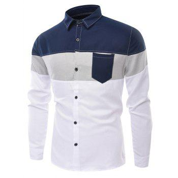 Panel Long Sleeve Color Block Pocket Shirt - WHITE 3XL