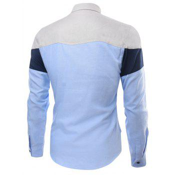 Panel Long Sleeve Color Block Pocket Shirt - XL XL