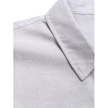Panel Long Sleeve Color Block Pocket Shirt - L L