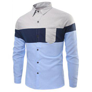 Panel Long Sleeve Color Block Pocket Shirt - BLUE L
