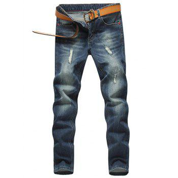 Slim Fit Low Waisted Zip Fly Distressed Jeans
