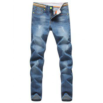 Striped Waist Distressed Jeans in Tapered Fit