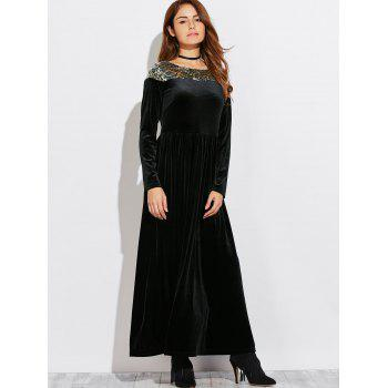 Velvet Maxi Formal A Line Evening Dress with Sleeves