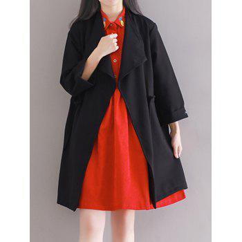 Loose Drawstring Duster Trench Coat