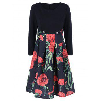 Fit and Flare Floral Patterned Dress