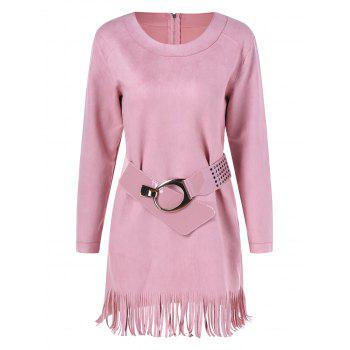 Long Sleeve Sueded Fringe Belted Dress