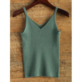 V Neck Knitted Tank Top