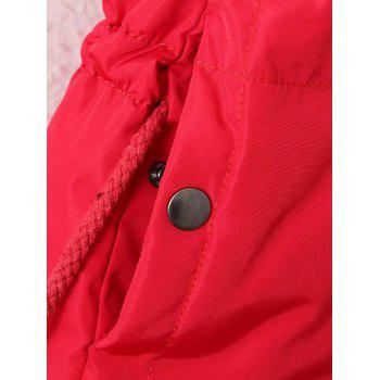 Plus Size Zipper Up Hooded Waistcoat - RED 3XL