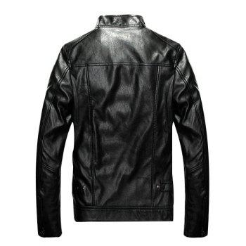 Zippered Patch Design Faux Leather Jacket - BLACK 4XL