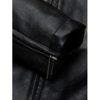 Zippered Patch Design Faux Leather Jacket - BLACK 3XL