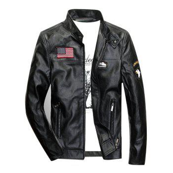 Zippered Patch Design Faux Leather Jacket