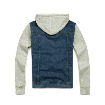Denim Insert Pocket Hooded Jacket - LIGHT BLUE L