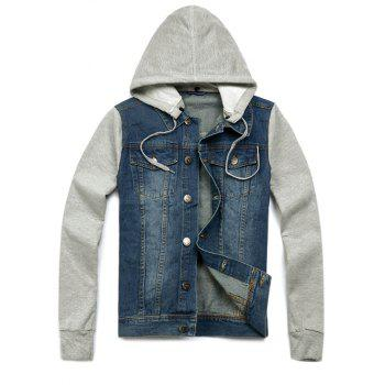 Denim Insert Pocket Hooded Jacket - LIGHT BLUE M