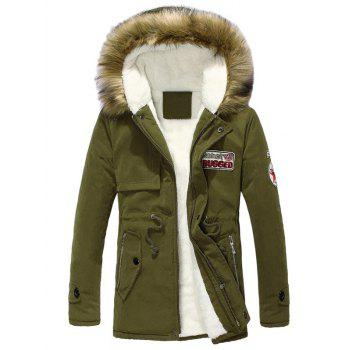 Buy Zip Pocket Patch Faux Fur Hooded Flocking Jacket ARMY GREEN