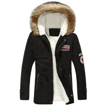 Zip Pocket Patch Faux Fur Hooded Flocking Jacket
