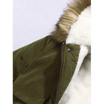 Zip Pocket Patch Faux Fur Hooded Flocking Jacket - EARTHY 3XL
