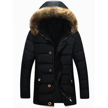 Faux Fur Hooded Button Pocket Zip Up Padded Jacket