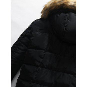 Faux Fur Hooded Button Pocket Zip Up Padded Jacket - BLUE L