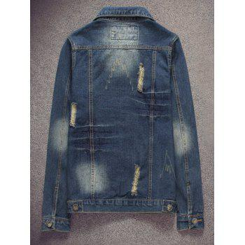 Scratched Pocket Ripped Denim Jacket - DEEP BLUE 4XL