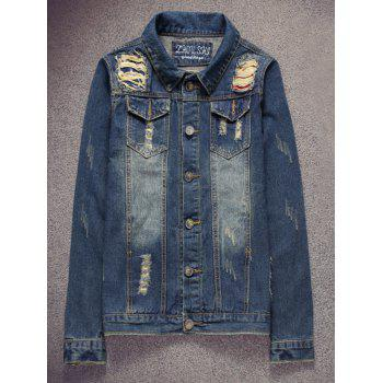 Scratched Pocket Ripped Denim Jacket