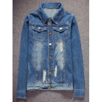 Button Up Pocket Distressed Denim Jacket