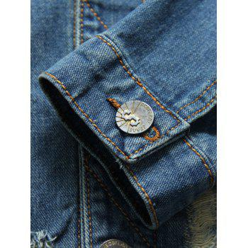 Button Up Pocket Distressed Denim Jacket - BLUE XL