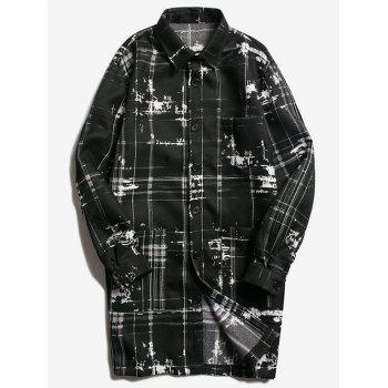 Patch Pocket Button Up Texture Plaid Coat