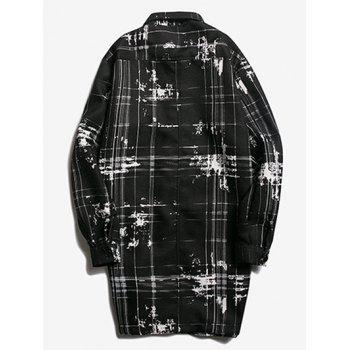 Patch Pocket Button Up Texture Plaid Coat - BLACK M